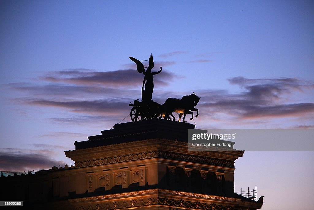 A view of the Vittorio Emmanuele II monument at sunset on July 9, 2009 in Rome, Italy. With nearly 3000 years of history Rome continues to live up to its motto of The Eternal City being one of the founding cities of Western Civilisation.