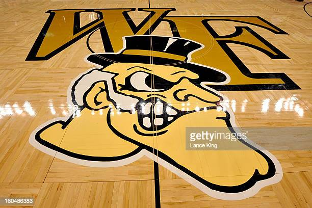 A view of the Wake Forest Demon Deacons logo is seen prior to a game against the Duke Blue Devils at Lawrence Joel Coliseum on January 30 2013 in...