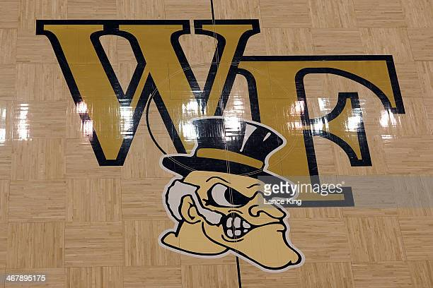 A view of the Wake Forest logo prior to a game between the Syracuse Orange and the Wake Forest Demon Deacons at Lawrence Joel Coliseum on January 29...