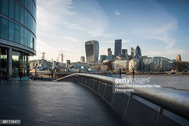 View of the walkie talkie and gherkin buildings from More London Place, London, UK