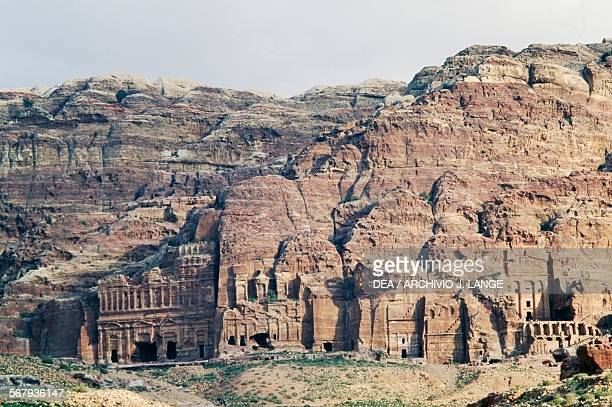 View of the wall containing the Royal tombs ancient city of Petra Jordan Nabatean civilisation 6th century BC2nd century AD