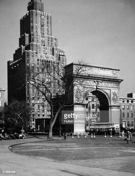 View of the Washington Square Arch and One Fifth Avenue on the northern border of Washington Square Park Greenwich Village New York City 1950s