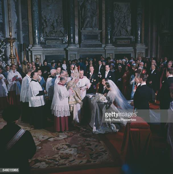 View of the wedding ceremony of Princess Irene of the Netherlands and Carlos Hugo Duke of Parma in the Borghese Chapel of the Basilica di Santa Maria...