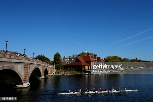 A view of the Weld Boathouse and Anderson Memorial Bridge during the Head of the Charles Regatta on October 21 2017 in Boston Massachusetts
