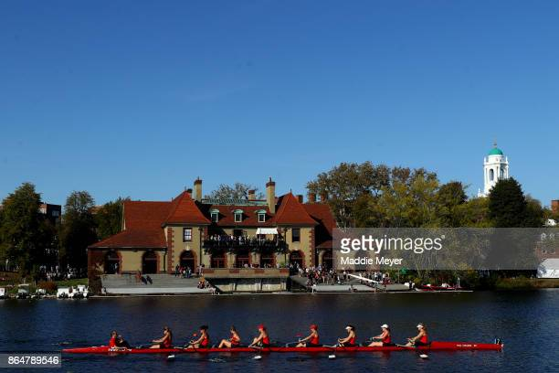 A view of the Weld Boathouse during the Head of the Charles Regatta on October 21 2017 in Boston Massachusetts