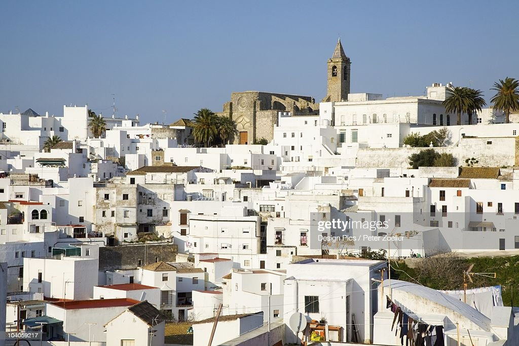 A View Of The White Buildings In The Town : Stock Photo