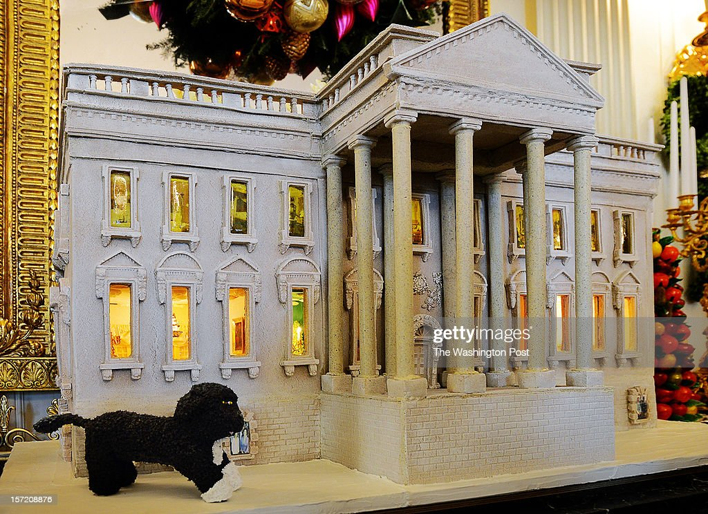A view of the White House rendered in gingerbread as the First Lady welcomes military families to share in this year's White House holiday decoration on November, 28, 2012 in Washington, DC.