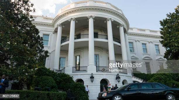 A view of the White House where Prime Minister Narendra Modi of India's car awaits his departure from the South Lawn of the White House on Monday...