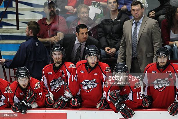 A view of the Windsor Spitfires bench and head coach Bob Boughner in the 5th game of the Western Conference Final against the Kitchener Rangers on...