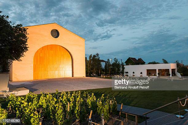 A view of the wine storehouse at Chateau Mouton Rothschild during the dinner of Conseil des Grand Crus Classes of 1855 hosted by Chateau Mouton...