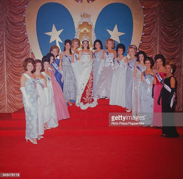 View of the winner of 1963 Miss World beauty contest Carole Crawford of Jamaica pictured with other finalists at the Lyceum Ballroom in London on 7th...