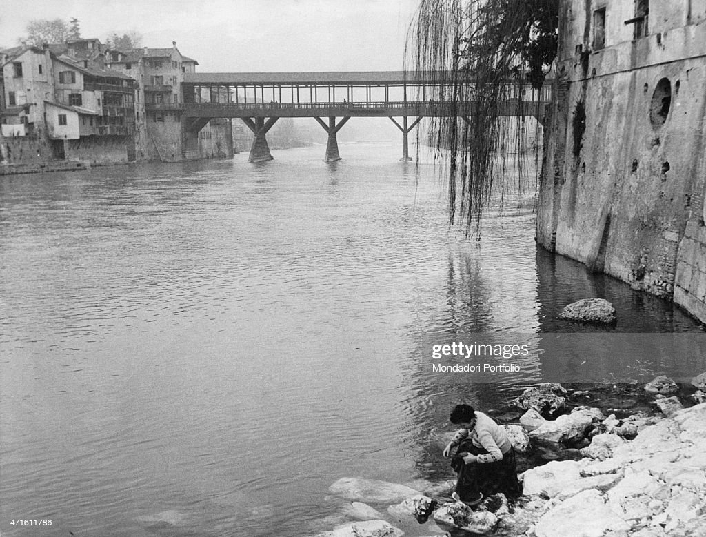 'View of the wooden covered bridge by Andrea Palladio on the Brenta River Bassano del Grappa January 1955 '