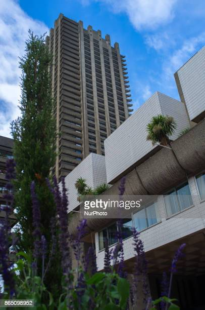 View of the world famous Barbican Centre in the City of London on October 22 2017 The Barbican Estate is a brutalist architecture residential estate...