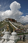View of the World Heritage listed Potala Palace which used to be the seat of the Tibetan government and the winter residence of the Dalai Lamas in...