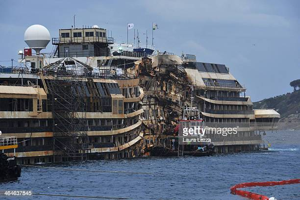 A view of the wrecked ship Costa Concordia after the inspection on January 23 2014 in Isola del Giglio Italy Today for the first time since the...