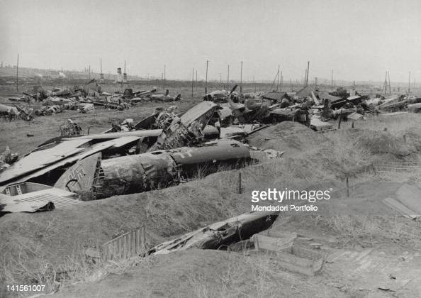 View of the wrecks of some aircraft of the German army shot down during the battle of Stalingrad Stalingrad 1940s