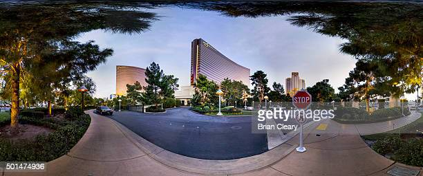 A 360 view of The Wynn and Encore Casino buildings on the Las Vegas strip early morning December 4 2015