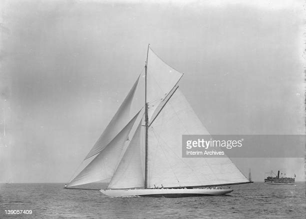 View of the yacht Defender which defended the 1895 America's Cup against the British challenger Valkyrie III July 22 1895