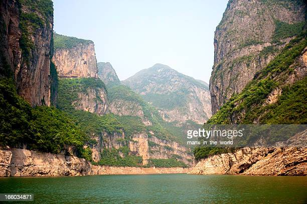 A view of the Yangtze River with cliffs taken from a boat