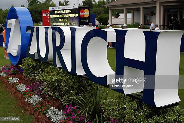 A view of the Zurich sign outside the clubhouse as play is suspended due to severe weather during the final round of the Zurich Classic of New...