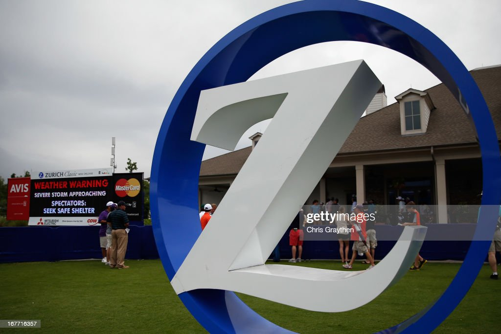 A view of the Zurich sign outside the clubhouse as play is suspended due to severe weather during the final round of the Zurich Classic of New Orleans at TPC Louisiana on April 28, 2013 in Avondale, Louisiana.
