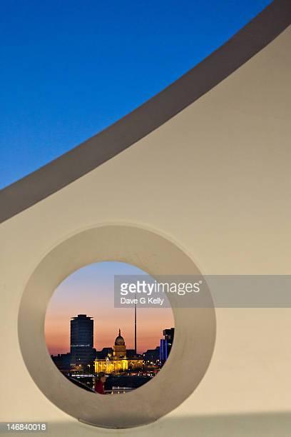 View of three dublin landmarks at sunset