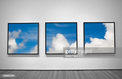 View of three framed photographs. : Stock Photo