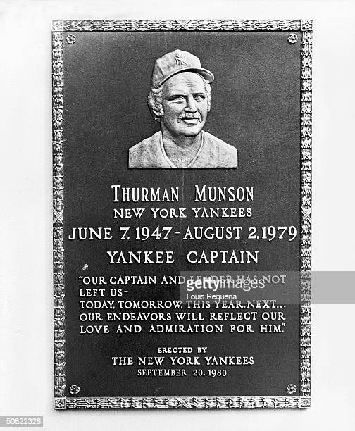 View of Thurman Munson memorial plaque located in Monument Park in center field of Yankee Stadium the Bronx New York early 1980s Pitcher and captain...