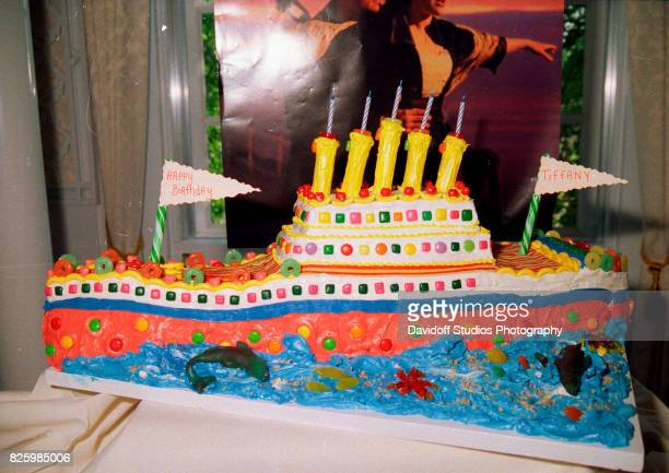 View of Tiffany Trump's 'Titanic'themed cake during her fifth birthday party at the MaraLago estate Palm Beach Florida October 13 1998 Behind the...