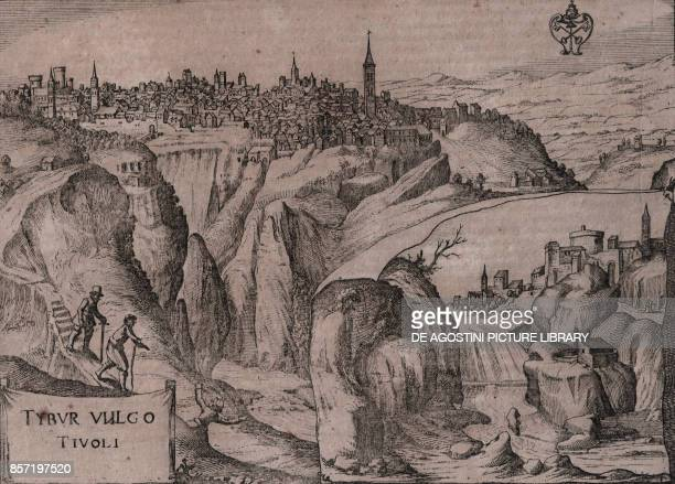 View of Tivoli with the waterfall on the Aniene river in the bottom right Lazio Italy copper engraving 245x18 cm from Nova et accurata Italiae...