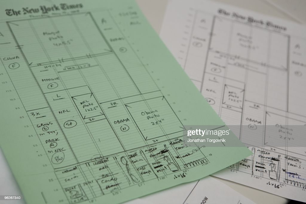 A view of Tom Bodkin's sketch of the page one content is used as reference for the design and pagination of page one in the newsroom that evening May...