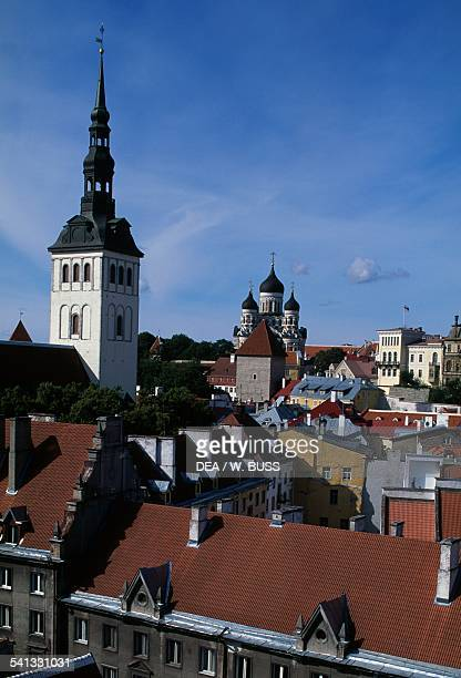 View of Toompea Tallinn old town with the bell tower of St Nicholas' Church on the left Estonia
