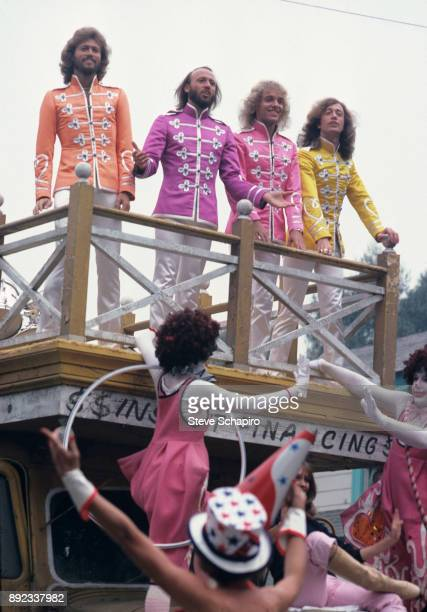 View of top from left musicians Barry and Maurice Gibb Peter Frampton and Robin Gibb in a scene from the film 'Sgt Pepper's Lonely Hearts Club Band'...