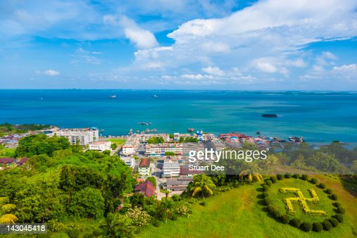 View of town and sea, Sandakan