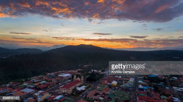 View of town of Naranjo and church - Costa Rica