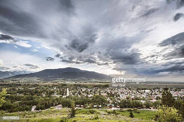 View of townscape and mountain, Red Lodge, Montana, USA
