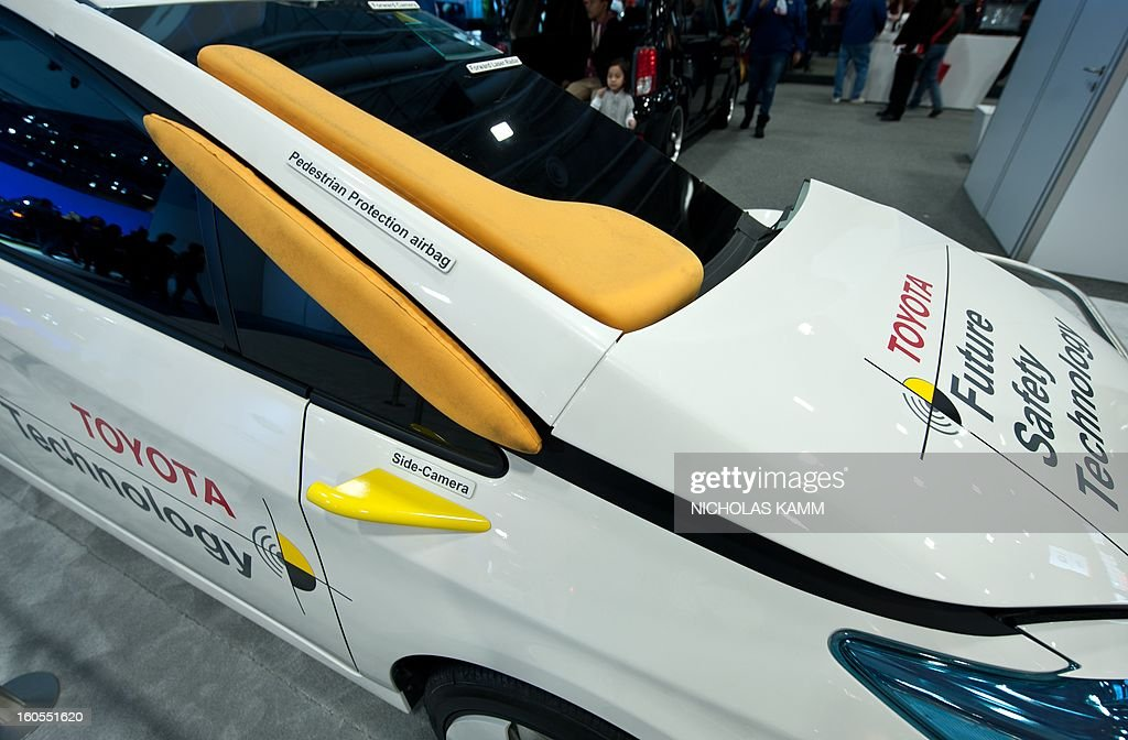 View of Toyota's Smart Environment Recognition future safety technology at the Washington Auto Show at the Walter E. Washington Convention Center in Washington on February 2, 2013. The show runs February 1-10. AFP PHOTO/Nicholas KAMM