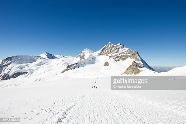 View of tracks in snow covered mountain landscape, Jungfrauchjoch, Grindelwald, Switzerland