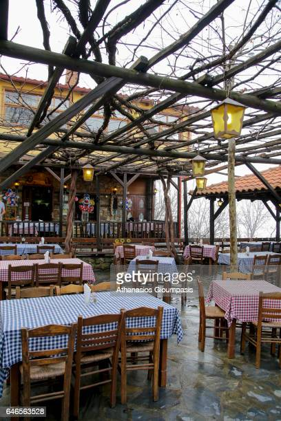 View of Traditional local tavern in Village Palaios Panteleimonas on February 27 2017 in Olympus National Park GreecePalios Panteleimonas is a...