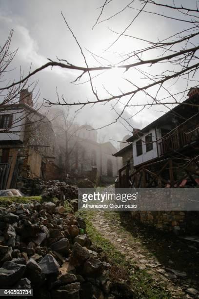 View of Traditional Village Palaios Panteleimonas on February 27 2017 in Olympus National Park GreecePalios Panteleimonas is a mountain villageΤhe...