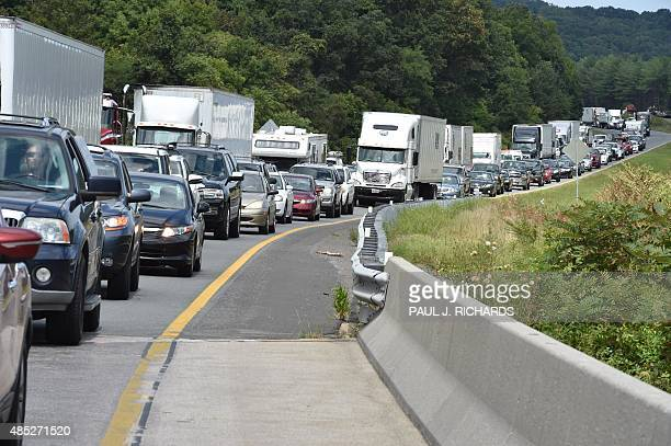 A view of traffic backed up on Interstate 66 near Front Royal Virginia on August 26 2015 miles back from a police line where suspected killer Vester...