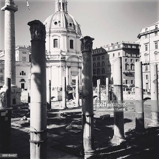 View Of Trajan Column By Cathedral Against Sky