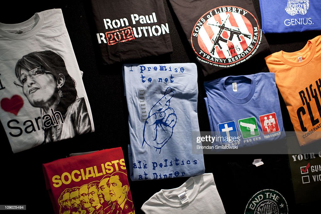 A view of t-shirts for sale at an exhibition booth during the final day of the American Conservative Union's Conservative Political Action Conference (CPAC) February 12, 2011 in Washington, DC. Conservative political activists and potential political candidates gathered for the annual event to speak about politics, the current Congress and the upcoming 2012 presidential elections.