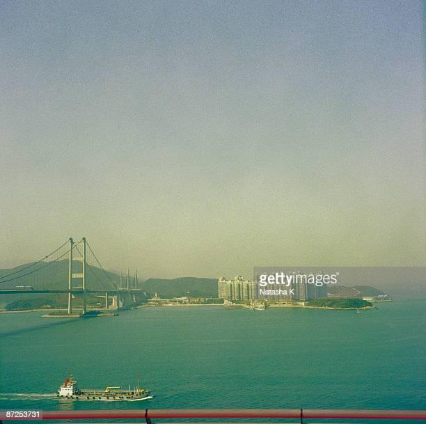 View of Tsing Ma bridge Hong Kong, China