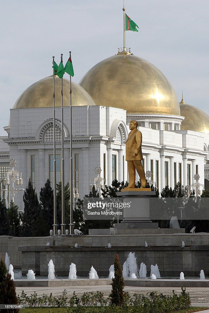 A view of Turkmenbasy Palace, the presidential headquarters, during the Commonwealth of the Independent States (CIS) Summit on December 5, 2012 in Ashgabat, Turkmenistan. Leaders of former Soviet republics gathered for the CIS Summit where President Putin stated he will defend the CIS at future G8 and G20 meetings.