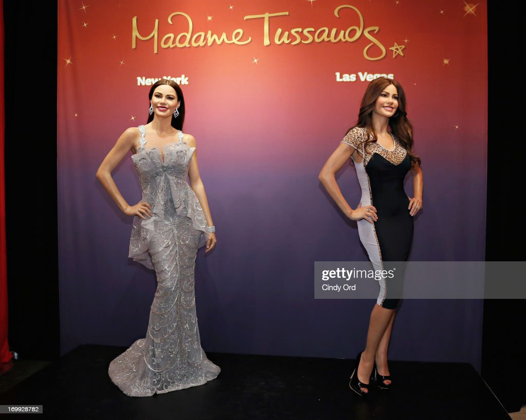 A view of two Madame Tussauds wax figures in the likeness of Sofia Vergara which will be on display at Madame Tussauds locations in New York and Las Vegas on June 4, 2013 in New York City.