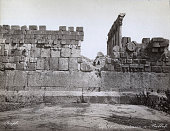 View of two men among the ruins of Ba'albek Lebanon circa 1881
