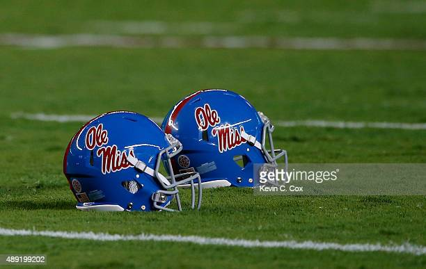 A view of two Mississippi Rebels helmets on the field prior to the game against the Alabama Crimson Tide at BryantDenny Stadium on September 19 2015...
