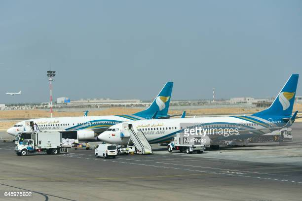 A view of two planes from Oman Air airline the national airline of Oman on the grounds of Muscat International Airport On Monday February 20 in Seeb...