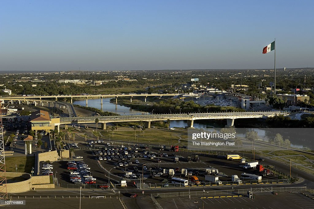 LAREDO TX View of two ports of entry where US Border Patrol ICE and Customs and Border Protection agents check cars for bulk cash leaving the US into...